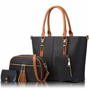 【本日限定セール】新作 ZARA系 海外ブランド お洒落 高品質 レディースバッグ 4点セット トートバッグ 黒