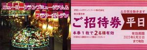 伊豆シャボテンリゾート株主優待 ニューヨークランプミュージアム&フラワーガーデン 平日ペアご招待券