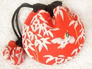 古布206 小丸袋・ポーチ小物入れ・絹 (笹薮や 雀) 時代着物地