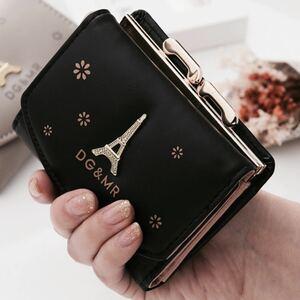 がま口オリ財布 コンパクト三つ折り財布 レディース財布 黒 防水 おしゃれミニ財布 レディースサイフ さいふ