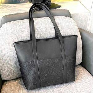トートバッグ レザー A4 ブラック 花柄 オフィス ビジネス オシャレ柄