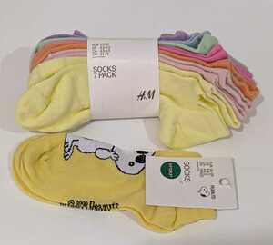 【未使用】【新品】エイチアンドエム H&M ソックス 靴下 キッズ レディース 8足セット まとめ売り 24 25 26 カラフル スヌーピー