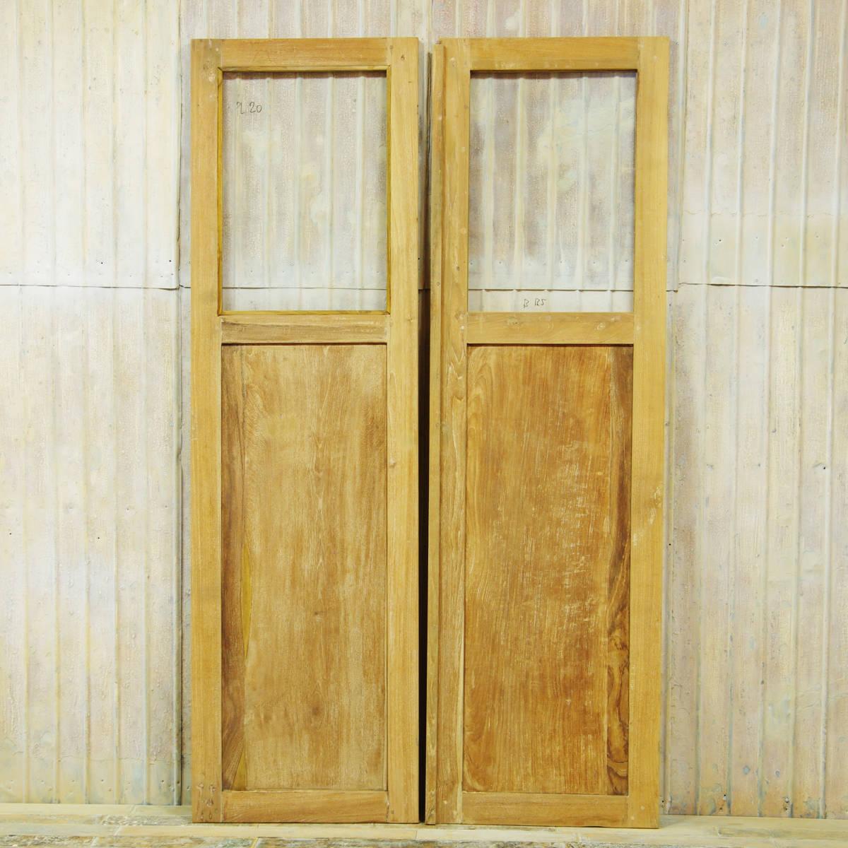S152〓W114×H198 ドアノブ外し穴修復済み 観音開きアンティークチークのドア 2枚組 無塗装 店舗リノベーション 扉 古い洋館の木製建具 ftg