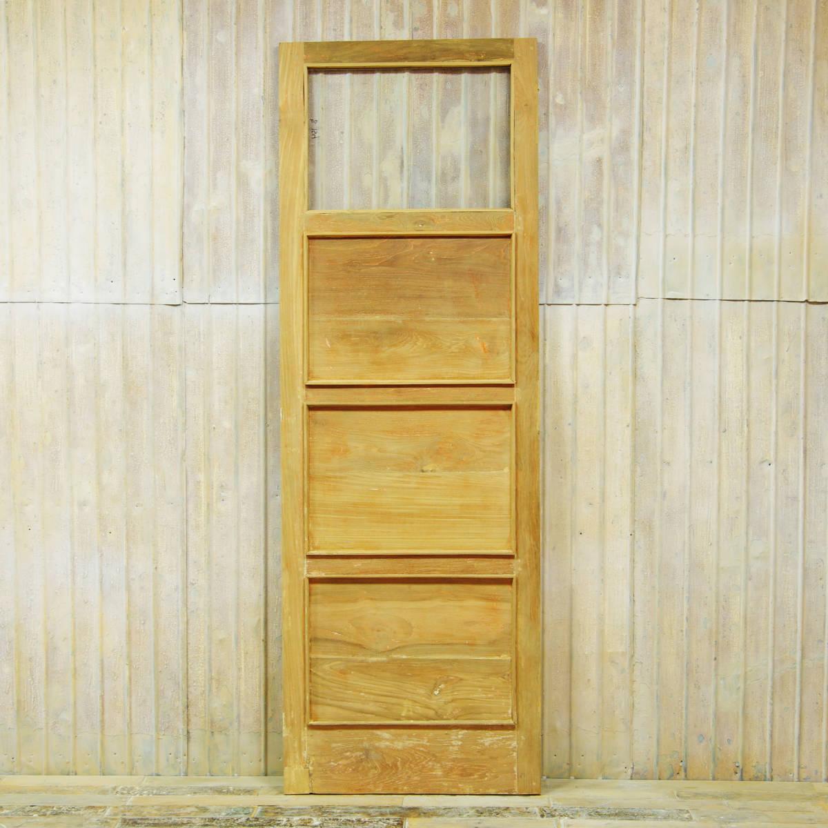 S154〓W72×H195 ドアノブ外し穴修復済み 片開きアンティークチークのドア 無塗装 店舗リノベーション ガラス扉 古い洋館の木製建具 ftg
