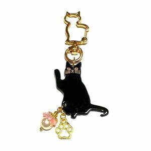 ハンドメイドチャーム(5) ゴールド     高級人工真珠と黒猫チャーム ゆらゆら  秋SALE品