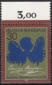 ★☆★ 美しい切手 ドイツ 1978 詩人 クレメンス・ブレンターノ生誕200周年 1種完 未使用 NH ★☆★