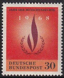 ★☆★ 美しい切手 ドイツ 1968 国際人権年 1 種完 未使用 NH ★☆★