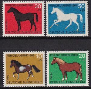 ★☆★ 美しい切手 ドイツ 1969 青少年福祉 馬 4種完 未使用 NH ★☆★