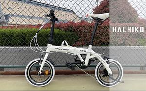 14インチアルミ 折りたたみ自転車 SHIMANO6段 folding bike 変速 前後フェンダー付き 白