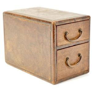 日本のアンティーク 昭和初期  二段小引き出し 味わい古民具 宝石箱  幅7.5㎝ 奥行き13㎝ 高さ9㎝ 小ぶりなサイズ感が魅力的 MMT