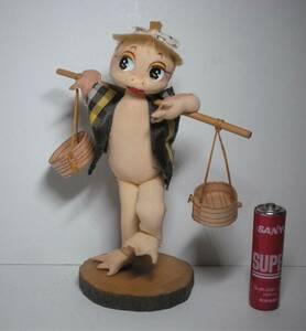 いなせな カッパ人形 天秤担ぎポーズ 木台 カッパ かっぱ 河童 ポーズ人形 昭和レトロ