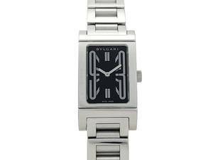 ブルガリ BVLGARI レッタンゴロ RT39S クォーツ レディース 腕時計 ブラック文字盤 ポリッシュ・電池交換済