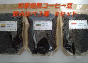 【送料無料】煎りたて自家焙煎コーヒー豆飲み比べ3種 Bセット