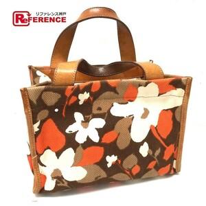 Kate spade ケイトスペード 花柄 ハンドバッグ フラワー トートバッグ キャンバス×レザー ブラウン レディース