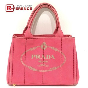 PRADA プラダ BN2439 三角ロゴプレート ミニ カナパ ハンドバッグ トートバッグ キャンバス レディース ピンク