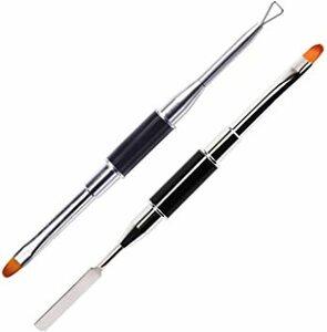 黒 両端UVジェル ネイルアートブラシ ネイル筆 ステンレスジェルネイルツール 2本セット 美容院 プロ 初心者 多用途