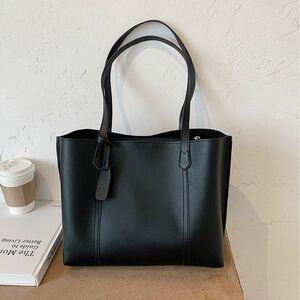 【黒】 シンプル トートバッグ ショルダーバッグ A4 レディース 肩掛け 防水 通勤 通学 就活 上品なバッグ