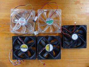 ☆ PCファン 全部で5個 ★GLOBE S1202512L-3M 120mm  2個 ★Power Cooler PS122512W  ★HXS C12025B DC FW-12V  その他 1個 ☆
