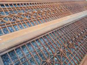 建具 組子細工 欄間 二枚 桐の葉紋様 古民家再生リノベーション伝統工芸お座敷蔵