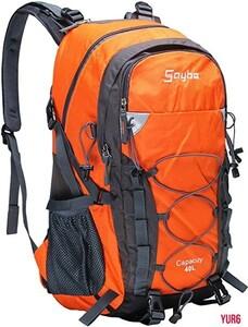 40L 大容量 リュックサック レインカバー付属 防水 軽量 通気 アウトドア 通勤 防災 登山 旅行 ハイキング 15.6インチPC収納 オレンジ