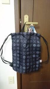 KIDS アニメ 鬼滅の刃 ユニクロ ナップサック 未使用 UNIQLO MANGA UT 柱 家紋 黒 ブラック かばん 鞄 きめつのやいば