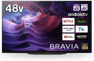 ソニー 48V型有機EL4Kテレビ KJ-48A9S 4Kチューナー内蔵/無線LAN/Bluetooth/DolbyAtmos/Android TV 一部即決送料無料有 2021/9~保証 引取可