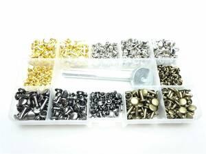 レザークラフト 金具セット カシメ 4種類 金 銀 ガンメタリック 青銅 直径6㎜から8㎜ 打ち具 ケース付き 両面 アンティーク 革