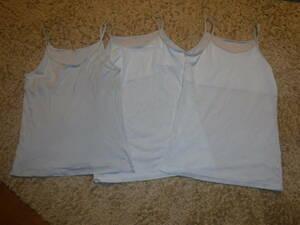 キャミソール タンクトップ インナー 150cm 薄い水色3枚セット シャツ 二重ガーゼ