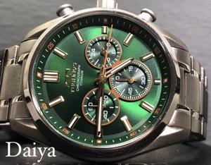 新品 TECHNOS テクノス 正規品 オールチタン シルバー グリーン 多機能腕時計 アナログ腕時計 クロノグラフ 5気圧防水 クオーツ メンズ