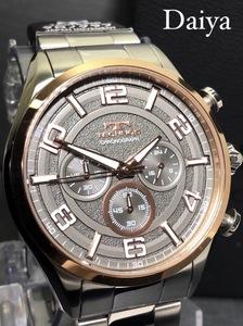 新品 TECHNOS テクノス 正規品 オールステンレス ピンクゴールド シルバー アナログ腕時計 多機能腕時計 クロノグラフ 5気圧防水 クオーツ