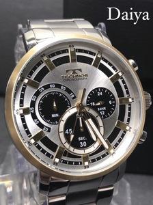新品 TECHNOS テクノス 正規品 オールステンレス シルバー ゴールド クロノグラフ アナログ腕時計 多機能腕時計 5気圧防水 クオーツ メンズ