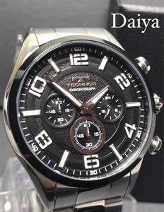 新品 TECHNOS テクノス 正規品 オールステンレス ブラック シルバー アナログ腕時計 多機能腕時計 クロノグラフ 5気圧防水 クオーツ メンズ