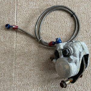 Z250FT 純正 当時物 フロント ブレーキキャリパー & ブレーキホースメッシュ Z400FX LTD ディスク ドラム マスターシリンダー Kawasaki