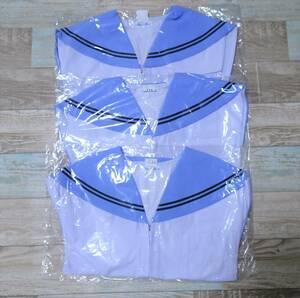 9-253☆コスプレ衣装(未使用新品袋入り・片山・水色エリ紺2本ラインの夏セーラー3枚セット・前開き)