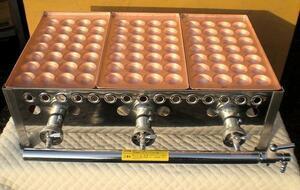 ★新品 銅板たこ焼 屋台 店舗 ☆銅板ガス業務用たこ焼き器 38㎜ 28穴 3連 3口 3丁 たこやき