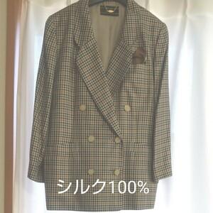 総シルクジャケットスーツ テーラードジャケット  ダブルジャケット 大きめサイズ