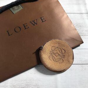 【極美品】LOEWE ロエベ スエード スウェード レザー アナグラム レディース コインケース 小銭入れ 財布 茶色 ブラウン ベージュ 正規品