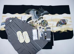 七五三 五歳 男児 祝着 着物 羽織袴フルセット 縞袴 袴変更可能 黒地 新品(株)安田屋 NO34075