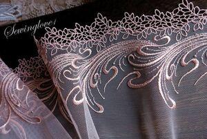 即決1m単位●幅18cm●スカラップチュールレース裾ケミカルレース刺繍コーラルピンクラメ刺繍