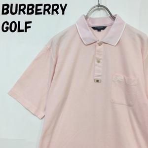 【人気】BURBERRY GOLF/バーバリー ゴルフ 半袖 ポロシャツ 鹿の子 裾サイドスリット 日本製 三陽商会 ピンク サイズL/S2525