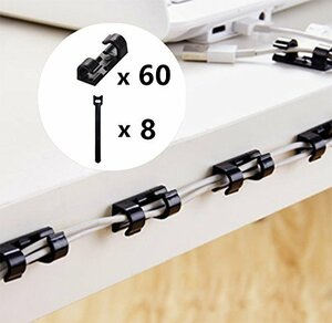 ブラック コードクリップ 60個+マジックバンド8本 ケーブルクリップ 収納 配線アクセサリー pc電源コード整理用 (ブラック