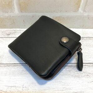 高級本革 本革 イタリアンレザー L字 ファスナー 二つ折り コンパクト 財布 新品 未使用 送料無料 ブラック 小銭入れあり
