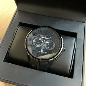★テンデンス  TENDENCE  腕時計 黒 ラウンド ガリバー クロノ 50mm★