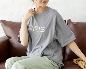 ロゴTシャツ 両面ロゴ入りオーバーTシャツ グレー ゆったり Tシャツ