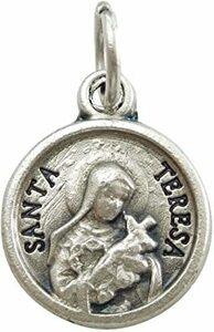 シルバー リジューのテレーズ 薔薇 メダイ チャーム ペンダント 聖女 メダル コイン