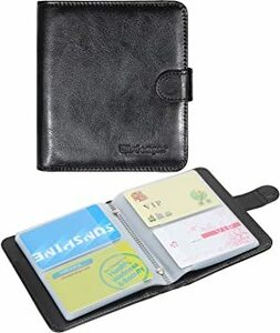 черный футляр для карточек Wisdompro® PU кожа соединение кожа складывающийся пополам большая вместимость карта держатель футляр для визитных карточек черный