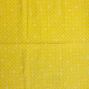 イエロー・サークル柄カットクロス(110×55センチ)