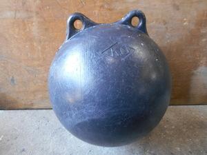 22-736 丸ブイ フロート ハイトップ PE(ポリエチレン樹脂) K,O 黒玉 黒球 約30cm 漁師さん、目印、仕掛け、係留等 中古品