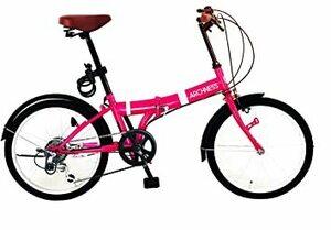 ピンク 20インチ ARCHNESS 206-A 折りたたみ自転車 20インチ 6段変速 ワイヤー錠・LEDライト付
