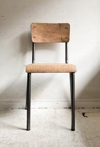 フランスヴィンテージポリッシュドスクールチェアー4/アトリエカフェアパレルインテリア店舗什器内装空間ショップデザイン古道具食卓椅子
